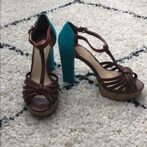 Shoes - Gianni Bini t-strap teal and brown platforms